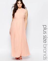 Платье макси с завязкой у горловины Lovedrobe Plus - Нежно-розовый