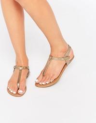 Золотистые сандалии с перемычкой между пальцами Daisy Street - Золотой