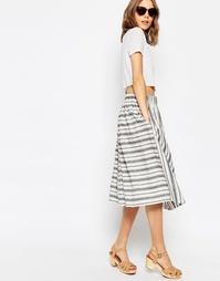Пышная льняная юбка миди в полоску ASOS - Мульти