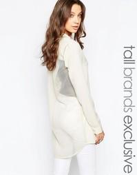 Удлиненная рубашка с сетчатой спинкой Noisy May Tall - Кремовый