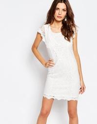 Облегающее кружевное платье с вырезным узором Vila - Снежно-белый