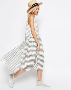 Платье-трапеция из органзы в полоску ASOS WHITE - Белый