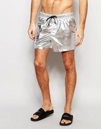 Короткие шорты для плавания цвета серебристый металлик ASOS
