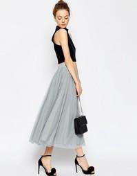 Многослойная юбка для выпускного из тюля ASOS - Серый