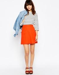 Льняная юбка-трапеция с карманом ASOS - Мандариновый