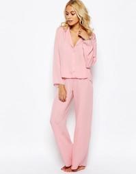 Атласная пижама с топом и широкими штанами ASOS - Blush
