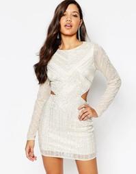 Платье мини с вырезами на талии Missguided Premium - Кремовый