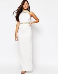 Платье макси с отделкой Missguided Premium - Кремовый