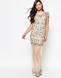 Сетчатое платье макси с цветочной отделкой Missguided Premium