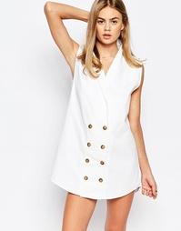 Джинсовое платье мини на пуговицах Rollas - Белый