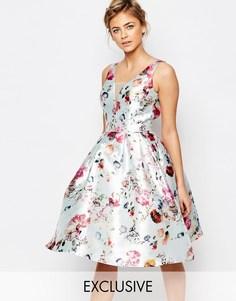 Короткое приталенное платье с глубоким вырезом и цветочным принтом Chi