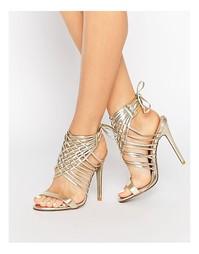 Золотистые сандалии на каблуке с завязками Public Desire - Золотой