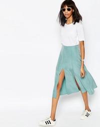 Мягкая юбка миди с запахом и разрезом ASOS - Шалфей
