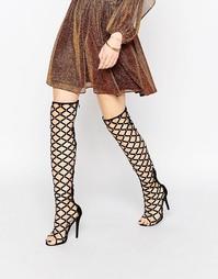 Сандалии на каблуке с ремешками выше колена Public Desire - Черный