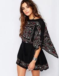 Полупрозрачное платье с вышивкой Free People Frida - Черный комбо