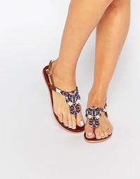 Кожаные сандалии с отделкой бисером Pieces Carmen - Коньячный