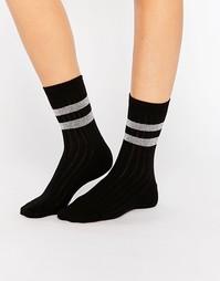 Носки с 2 блестящими полосками ASOS - Черный