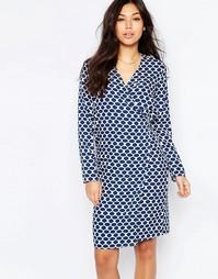 Платье миди с запахом Vila - Синий принт