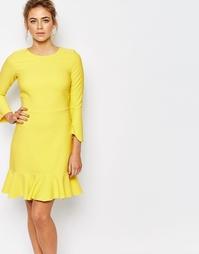 Платье миди с оборкой вдоль кромки и рукавами 3/4 Closet - Желтый