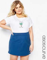 Футболка ASOS CURVE 'Talk To The Palm' - Белый