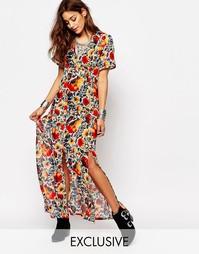 Чайное платье макси с разрезом спереди и фестивальным цветочным принто Milk It