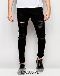 Облегающие рваные джинсы выбеленного черного цвета Liquor & Poker