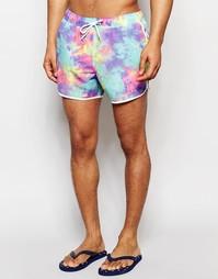 Короткие шорты для плавания с неоновым принтом тай-дай ASOS - Мульти