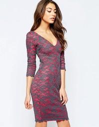 Платье миди с контрастной кружевной накладкой Hedonia Indogo