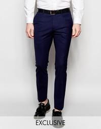 Шерстяные брюки слим Heart & Dagger - Темно-синий