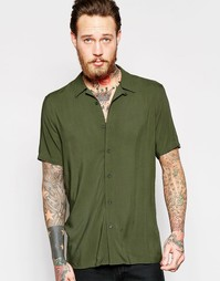 Вискозная рубашка классического кроя цвета хаки с отложным воротником Asos