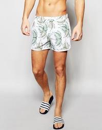 Укороченные шорты для плавания с принтом листьев ASOS - Белый