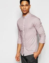 Зауженная розовая рубашка с длинными рукавами и воротником на пуговица Asos