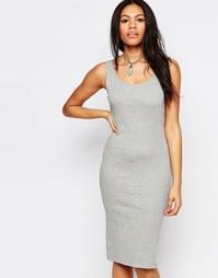 Облегающее платье миди в рубчик Brave Soul - Серый меланж
