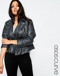Полиуретановая байкерская куртка с выбеленным эффектом ASOS CURVE