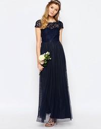 Платье макси с кружевным лифом и пуговицами сзади Vila - Темно-синий