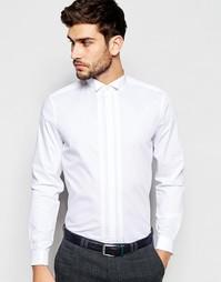 Белая рубашка с плиссированной вставкой и воротником-стойкой ASOS
