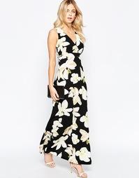 Платье макси с крупными цветами и запахом Parisian - Черный
