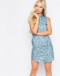 Джинсовое платье-рубашка с принтом Parisian - Светло-голубой