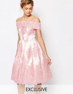 Кружевное премиум платье‑бандо миди Chi Chi London - Розовый