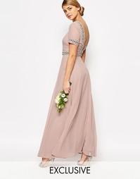 Платье макси с пышной юбкой и отделкой Maya - Бледный розовато-лиловый