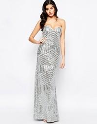 Длинное платье-бандо с юбкой годе Forever Unique Celine - Серебряный