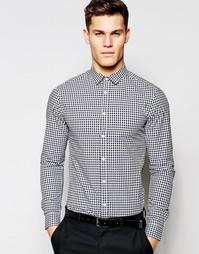 Облегающая рубашка в клеточку ASOS - Черный