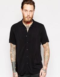 Вискозная черная рубашка классического кроя с отложным воротником ASOS