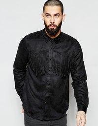 Черная рубашка в стиле вестерн с бахромой и длинными рукавами ASOS