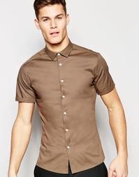 Зауженная коричневая рубашка с короткими рукавами ASOS - Коричневый