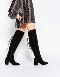 Высокие сапоги со шнуровкой ASOS KOCO - Черный