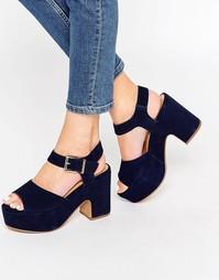 Темно-синие сандалии на каблуке и платформе ALDO Nathalia