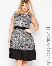 Приталенное платье с контрастной отделкой и принтом пейсли Praslin Plu