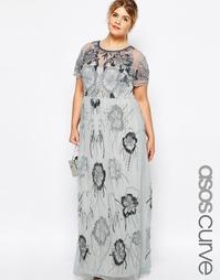 Декорированное платье макси ASOS CURVE Hero - Серый