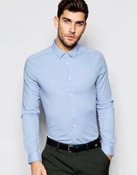 Облегающая рубашка с длинными рукавами ASOS - Синий